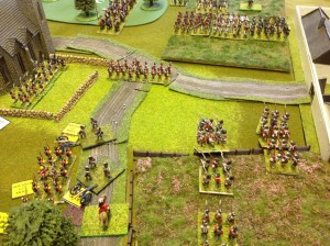 British infantry advance to secure the west side of the Villa